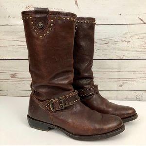Frye Tall Studded Leather Wyatt Moto Boots 7
